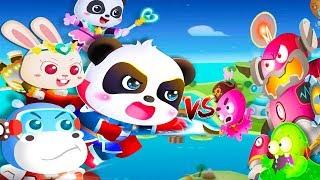 Little Panda's Hero Battle Game - Play Fun Baby Panda Friend Rescue Gameplay - Babybus Games For Kid