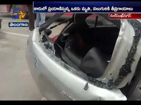 Drunk And Drive | Speed Car Hits Metro Pillar at Dilsukhnagar | 1 Dead