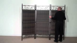 Versare 3 Panel Wicker Partition (steel Frame)
