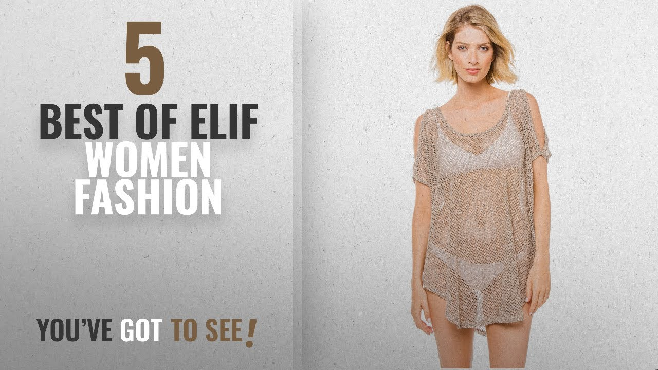 43002c31eb Elif Women Fashion [2018 Best Sellers]: Elif Women's Crochets Tunic Swim  Cover Up Taupe L