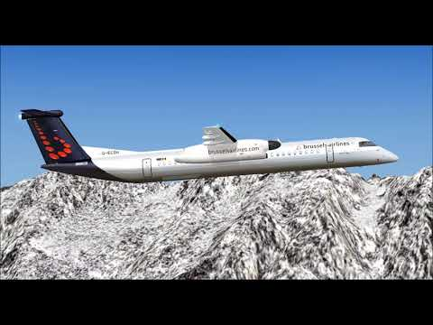 DASH 8 Q400 BRUSSELS AIRLINES TAKE OFF FROM INNSBRUCK AIRPORT FS9 HD