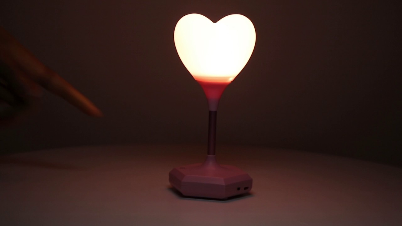 Touch Switch Heart Shape USB Chargeable LED Table Lamp