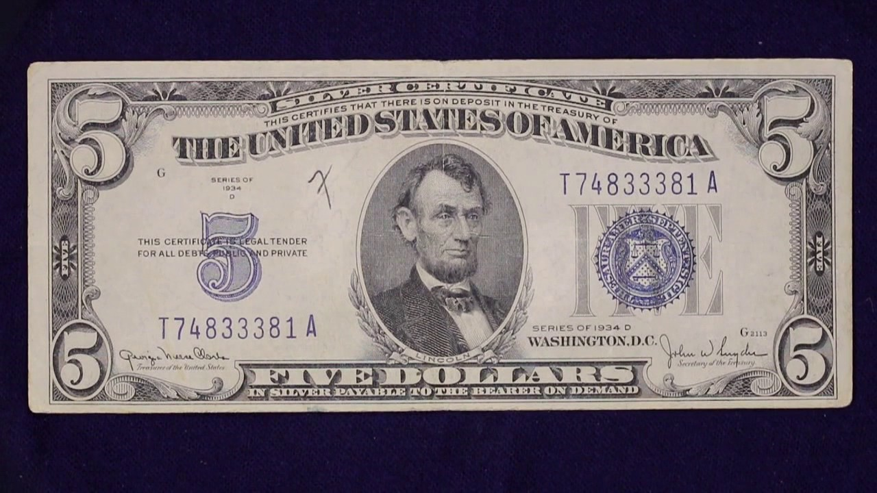 5 Dollar 1934 Silver Certificate - YouTube
