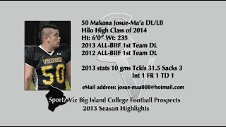 50 Makana Josue-Ma'a DL/LB 2013 Season Highlights