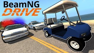 Extreme Golf Cart Chase & Crashes! - BeamNG Drive Gameplay - Police Escape