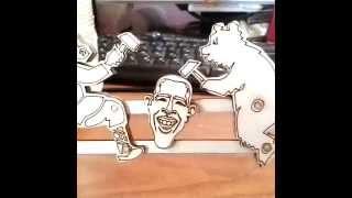 Игрушка мужик и медведь!