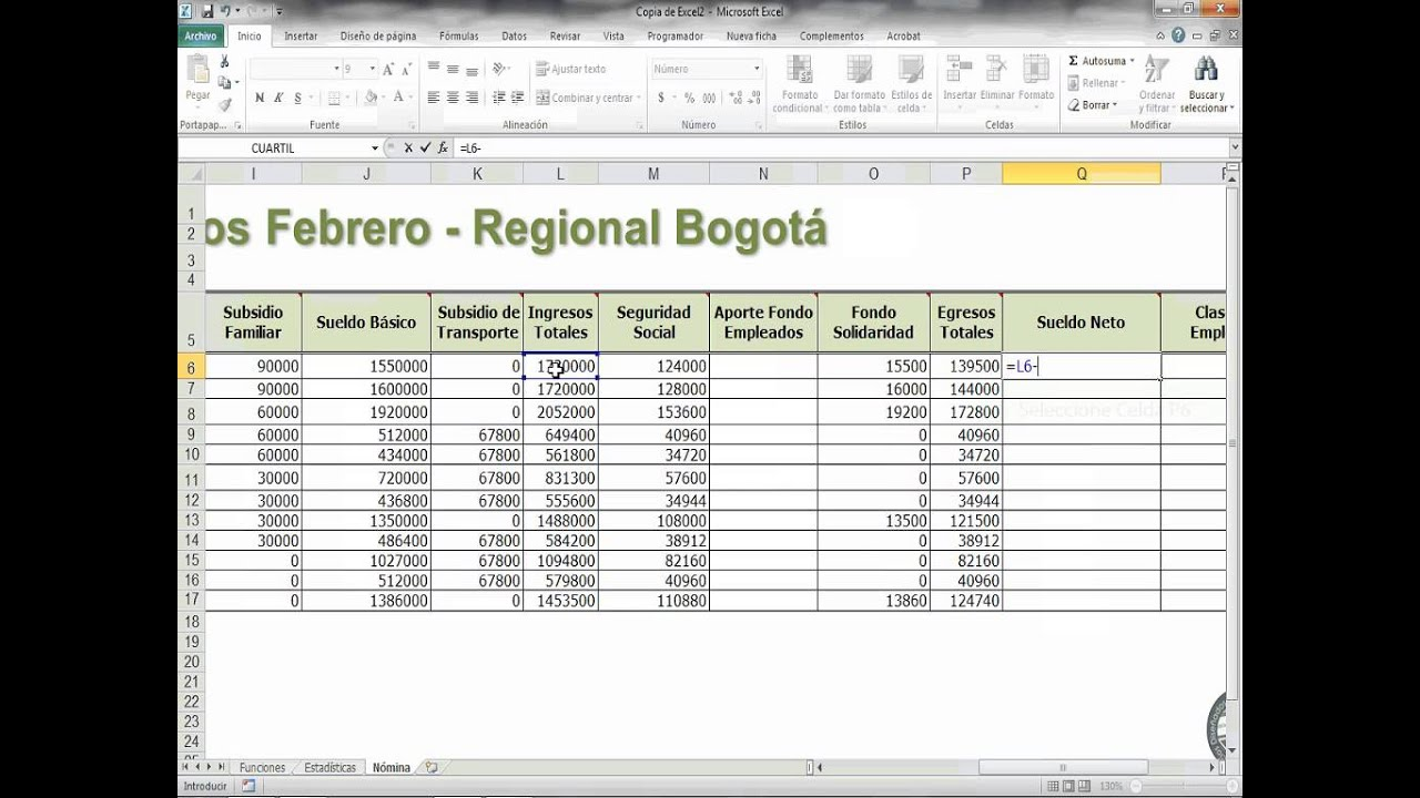 Sueldo neto excel youtube for Nomina en excel xls