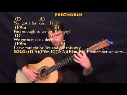 Fast Car (Tracy Chapman) Guitar Lesson Chord Chart in A Major - D A F#m E