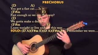 Fast car (tracy chapman) guitar lesson chord chart in a major - d f#m e