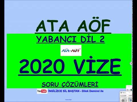 ATA AÖF İNGİLİZCE 2 2020 VİZE