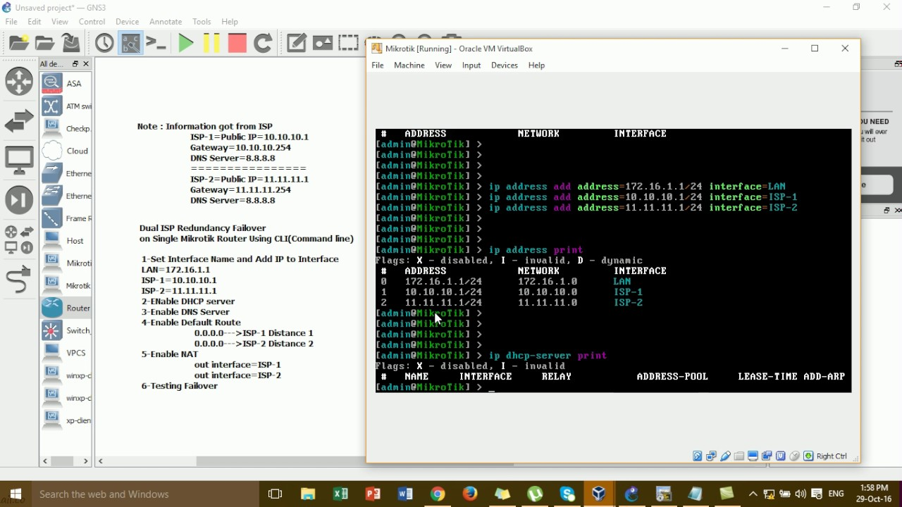 Dual ISP Redundancy Failover Configure by Command line on Single Mikrotik  Router