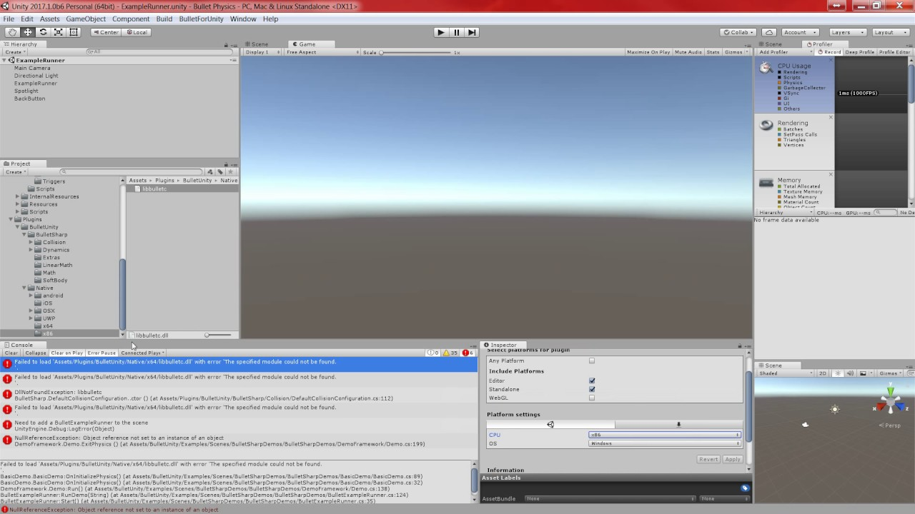 Unity3D Bullet Physics - Facing issue at very start