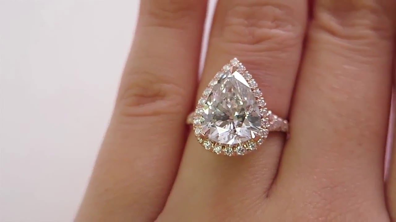 Huge Colorless 433ct Estate Vintage Pear Shaped Diamond Engagement Wedding  Pave Halo Rose Gold Ring