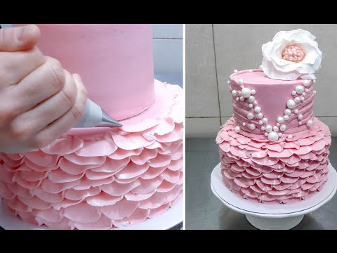 Cake Decoration Buttercream : How To Make Rose Swirl Buttercream Cake - Rosas con cre ...