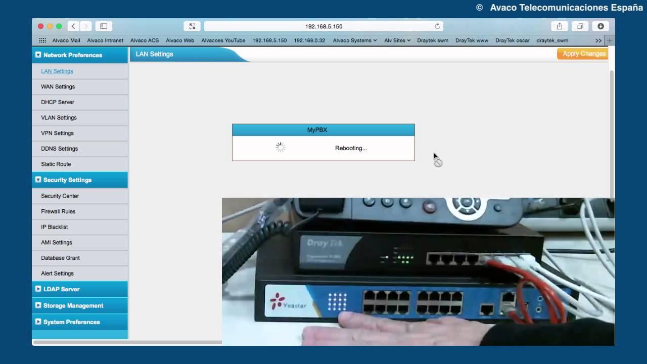 MyPBX Configuración inicial de red y actualización