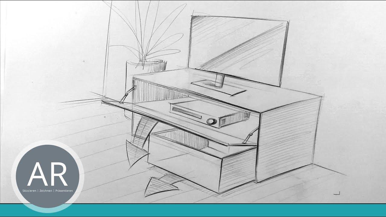 möbel-design. möbel in schnell in perspektive zeichnen. mappenkurs  innenarchitektur