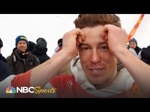 An emotional Shaun White watches his gold medal halfpipe run