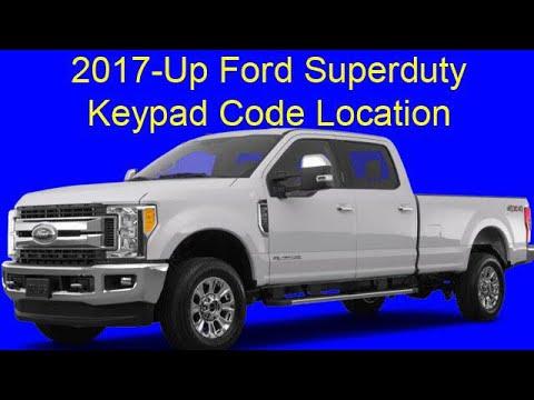 2017-Up Ford Superduty Keypad Code Location