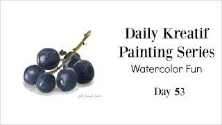 Daily Painting - Black Grapes in Watercolor 53/100 | Siti Nuriati Husin
