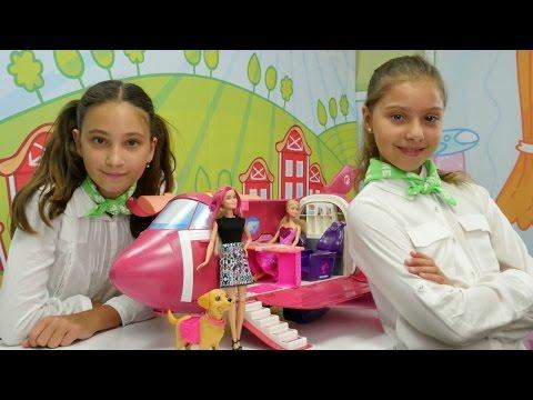 Ah Cici Kız hava yolları - Barbie uçak oyunu. Polen ve Jazmin ile hostes oyunu