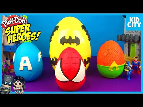 Batman Toys Play-Doh Surprise Eggs with Spiderman Captain America & Justice League | KIDCITY