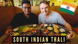 FOREIGNERS Try South Indian THALI for the FIRST TIME ?? [Learning How to Eat Thali With Hands]