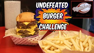 Undefeated Colossal Burger Challenge w/ Fries + Nutella Shake| Ketchup Burger Bar | FreakEating