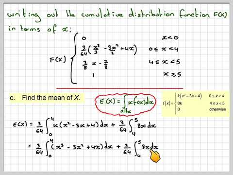 Download The mean, CDF and median from a continuous random variable