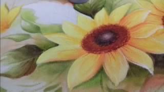 Pintura em Tecido – Aprenda pintar Girassol e folhas