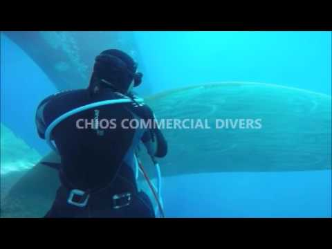 Chios island - underwater cleaning ship and polishing propeller - Chios commercial divers
