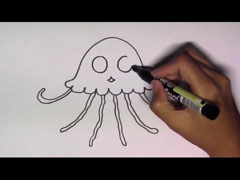 วาดรูปการ์ตูนน่ารัก ระบายสี และเรียนรู้ภาษาอังกฤษ Jellyfish แมงกะพรุน
