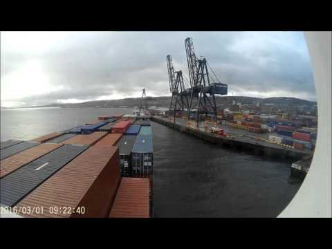 Container Ship arriving at Greenock, Inverclyde 1st march 2016