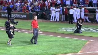 President George W. Bush throws the 1st first pitch to Nolan Ryan at 2011 Game 4 World Series