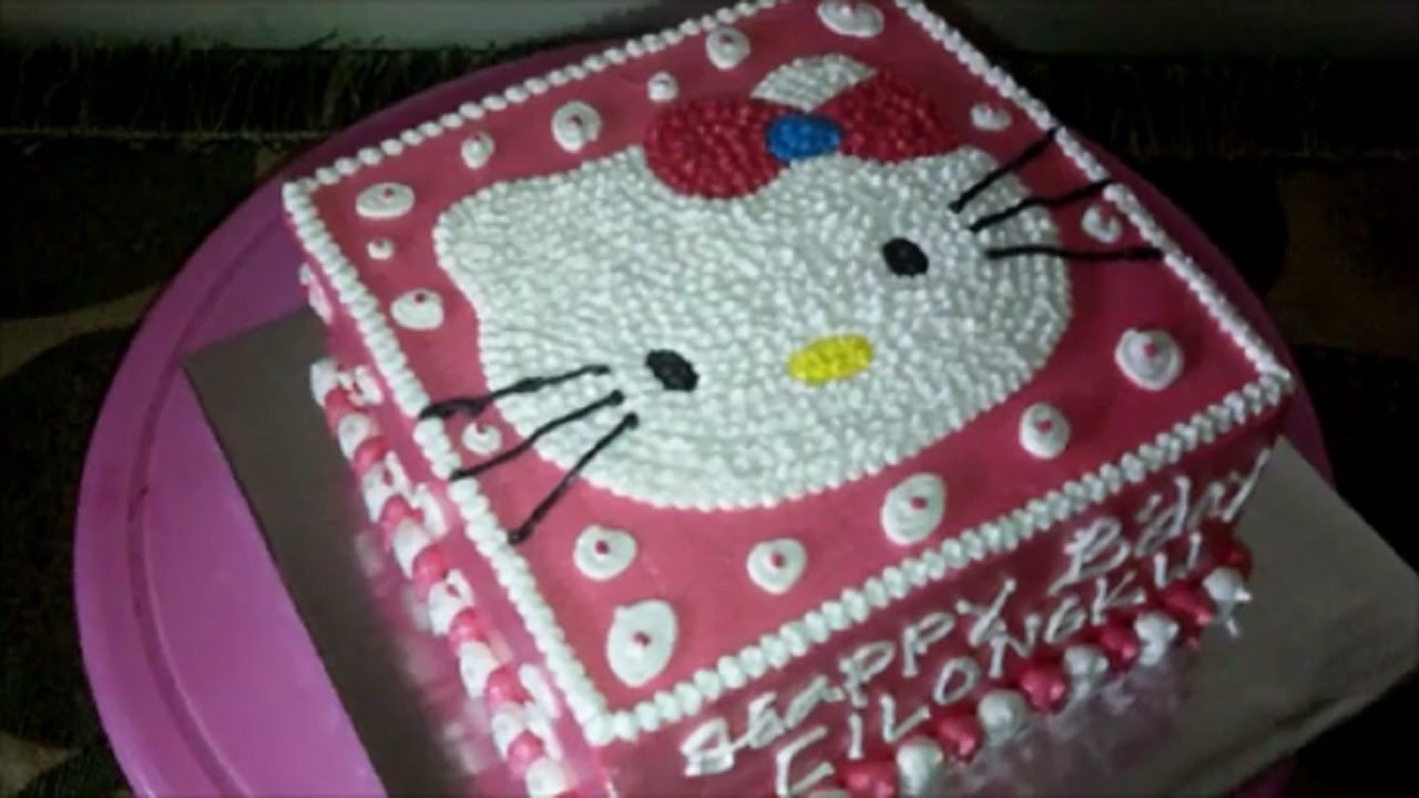 How To Easy Decorate Hello Kitty Head Square Make Birthday Cake