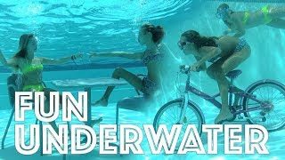 Carla Underwater - Riding my bicycle underwater, eating and drinking