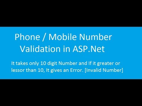 How To Do Phone/Mob Number Validation In ASP.Net