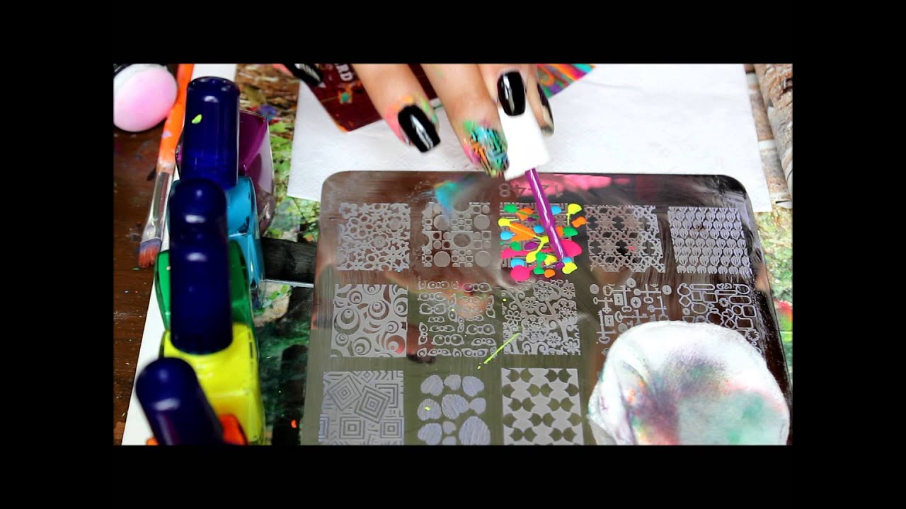 nail stamping: multi color stamping design w/ myonline shop plate