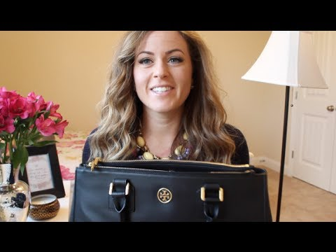 253041269 What s in my bag  Tory Burch Robinson Double Zip Tote - YouTube