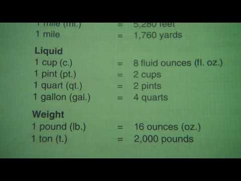 Measurements Length Foot Liquid Cup Pint Quart Gallon Weight Pound Ton