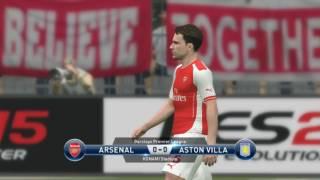 arsenal vs aston villa pes 15 ( last minute goal)