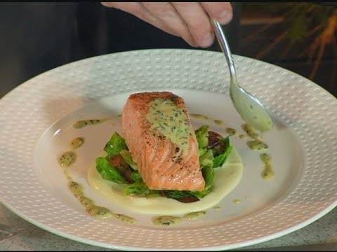 Salmon with Brussel Sprout Leaves