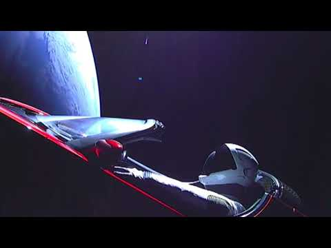 SpaceX/Elon Musk's Starman floating in space (with music)