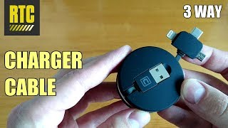 Retractable USB Charging Cable for iPhone and Android with 3 Cord Charger