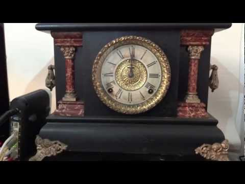 "ANTIQUE CARVED WOOD Ingraham ""Marble"" Wood Mantel Clock"