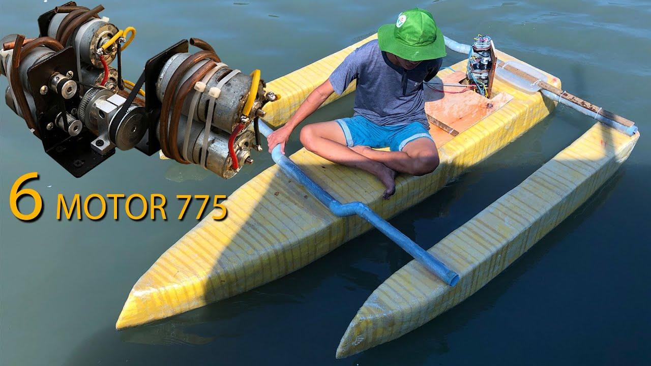 Chế thuyền sử dụng 6 Motor 775 tốc độ 20Km/h | Thuyền 3 thân từ xốp đơn giản