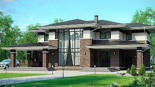 Проект дома в стиле райта из кирпича со вторым светом и просторной гостиной | Райт - Прерий | M-272