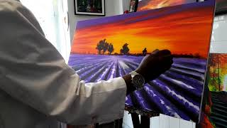 How to paint Lavender flowers field with Jean Ryan Hakizimana