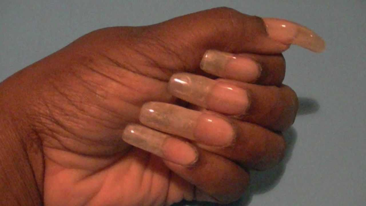 MY LONG NATURAL GEL NAILS NO COLOR POLISH !!!! - YouTube