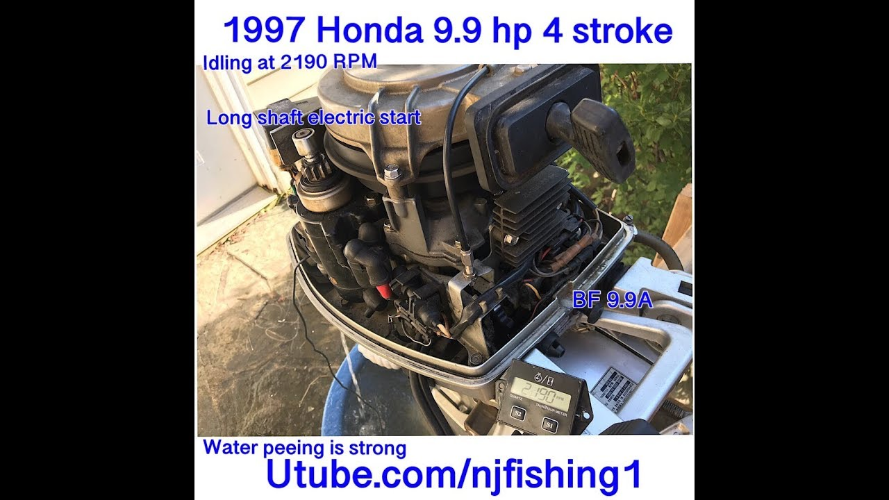 1997 Honda 9 9 hp 4 stroke outboard idling at 2,100 RPM after carburetor  cleaning