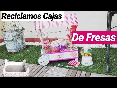 Carrito de chuches con caja de fresas 1 cart sweet - Carro de chuches comunion ...
